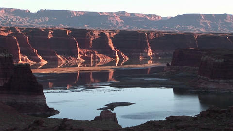 Long shot of the Colorado River in Utah Footage