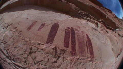 A fisheye shot of mysterious ancient petroglyphs in... Stock Video Footage