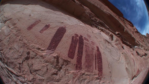 A fisheye shot of mysterious ancient petroglyphs in Canyonlands National Park, Utah Footage