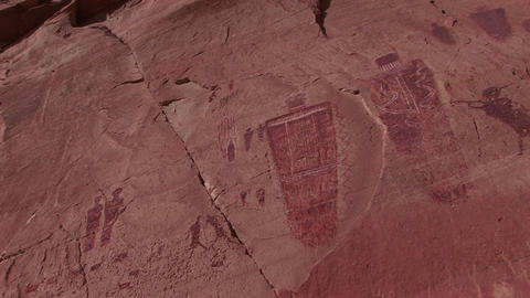 Close-up of American Indian petroglyphs on a canyon wall Stock Video Footage