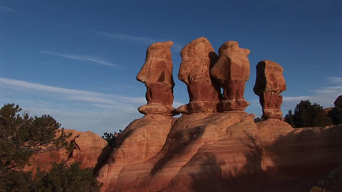 Long-shot of unusual rock formations in Canyonlands... Stock Video Footage