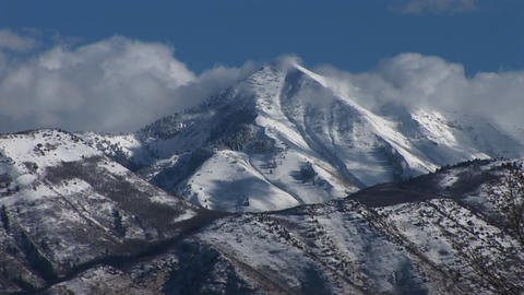 Long shot of rugged mountain peaks Stock Video Footage