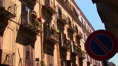 An alley between apartments with balconies and flowers Palermo, Italy Footage