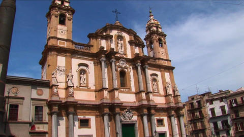 A religious building below a cloudy blue sky Palermo, Italy Stock Video Footage