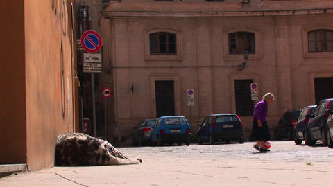 An old woman walks pass a large body mass lying against a building Palermo, Italy Footage