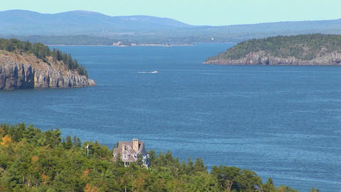 Water and islands in Acadia National Park in Maine Footage