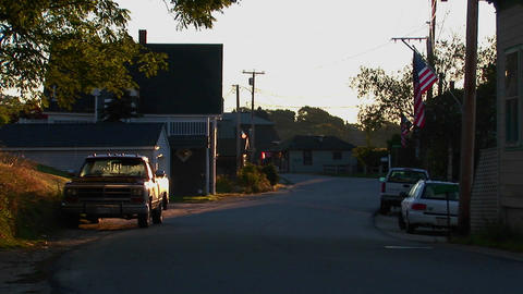 A shady street at a lobster village in Stonington, Maine Stock Video Footage