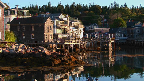 A lobster village in Stonington, Maine is near water at day Stock Video Footage