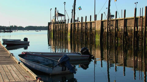 A lobster village in Stonington, Maine is near a pier... Stock Video Footage