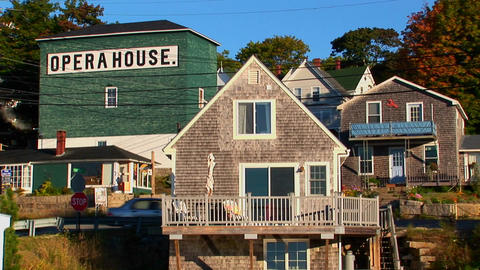 An opera house in a lobster village is located on a hillside in Stonington, Maine Footage