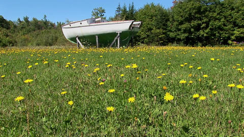 An old boat in Main, New England rests on wooden planks in the middle of a field Footage
