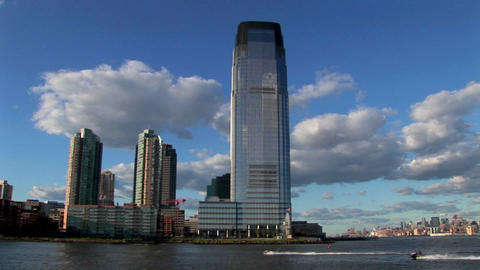 The skyline of Hoboken, New Jersey Stock Video Footage