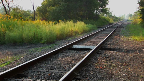 A railroad track at day Footage