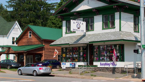 Cabin and house style stores at day Stock Video Footage