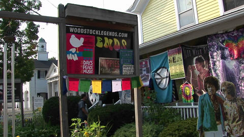 Hippie welcome signs on a Woodstock bulletin board in... Stock Video Footage