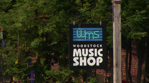 A Woodstock music shop sign in Woodstock, New York Footage