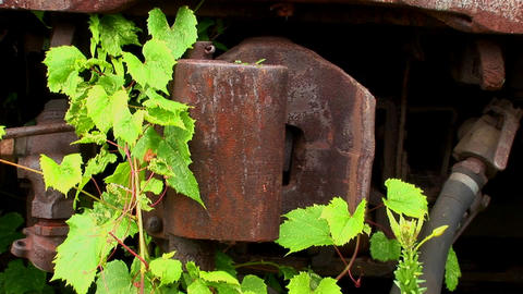 A rusty railcar hitch Stock Video Footage