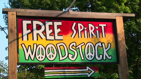 A multi-colored Woodstock sign in Woodstock, New York Stock Video Footage
