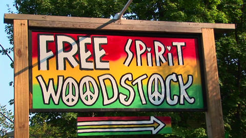 A multi-colored Woodstock sign in Woodstock, New York Footage