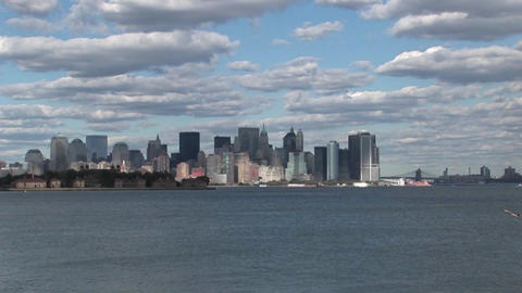 Clouds move over New York City, NY Footage