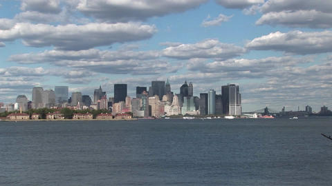 Clouds move over New York City, NY Stock Video Footage