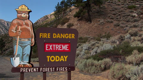 A Smoky Bear fire danger sign Footage
