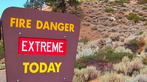 A Smoky Bear fire danger sign Stock Video Footage