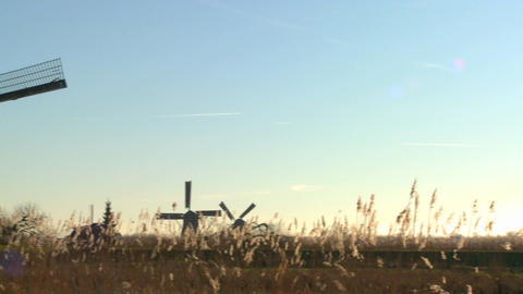 A slow pan across to windmills rising from the grass in... Stock Video Footage