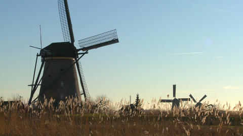 A slow pan across to windmills rising from the grass in Holland Footage