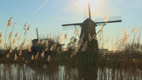 A slow tilt up to windmills standing along a canal in Holland Live Action