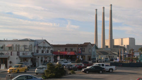 The town of Morro Bay in California with industrial... Stock Video Footage