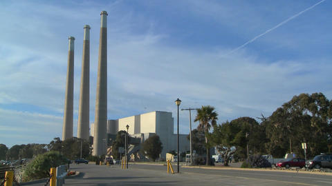 An establishing shot of a power plant Footage