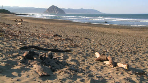 An panning shot of a large rock along the coast of... Stock Video Footage