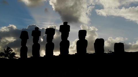 Clouds lend an air of mystery to the amazing statues at Easter Island Footage