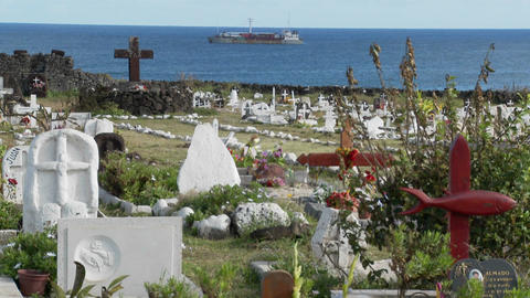Graves adorn a South Sea cemetery Footage