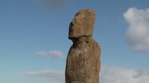 Time lapse of a mystical statue on Easter Island Footage