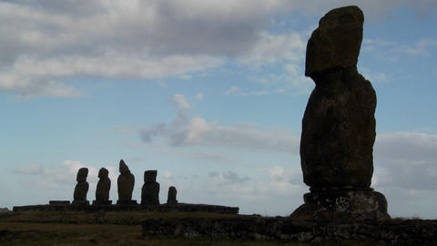 Time lapse of the mystical statues of Easter Island Stock Video Footage