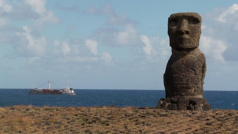 A ship off the coast of Easter Island Stock Video Footage