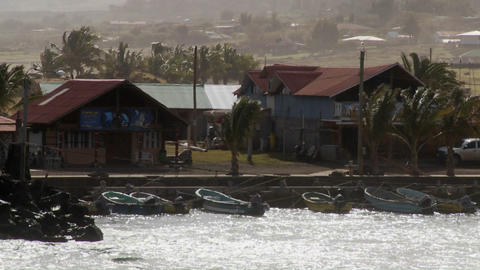 The town of Hanga Roa on Easter Island with wind blowing Stock Video Footage