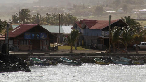 The town of Hanga Roa on Easter Island with wind blowing Footage