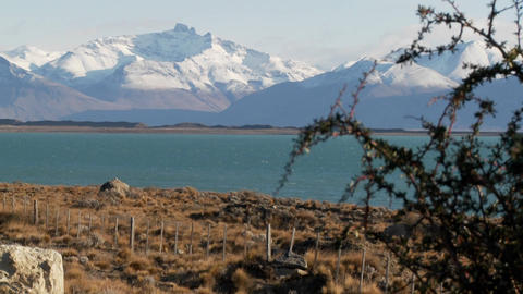 Lake Argentina and the snowclad Andes in Patagonia Stock Video Footage