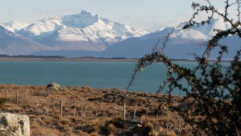 Lake Argentina and the snowclad Andes in Patagonia Footage