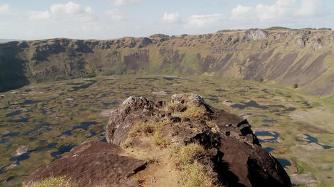 Time lapse across a volcanic cone crater on Easter Island Footage