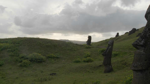 A panning shot reveals the unfinished statues on Easter Island Footage