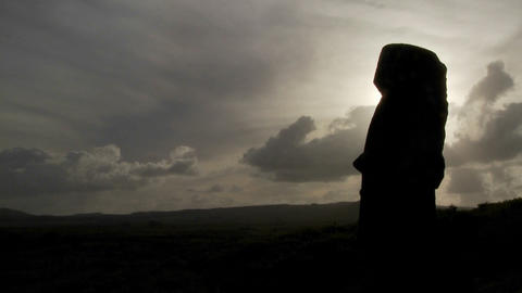 Time lapse of amazing clouds with Easter Island statues... Stock Video Footage