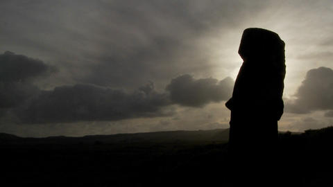 Time lapse of amazing clouds with Easter Island statues in silhouette Footage