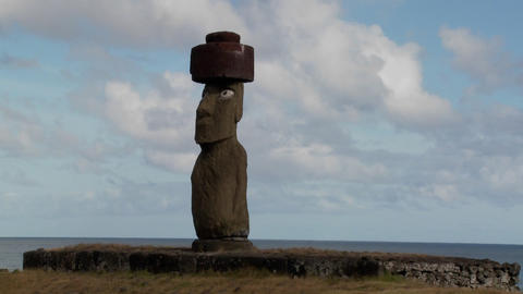 A time lapse of clouds moving behind an Easter Island statue Footage