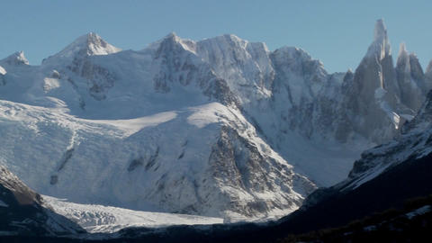 Pan across the remarkable mountain range of Fitzroy in... Stock Video Footage
