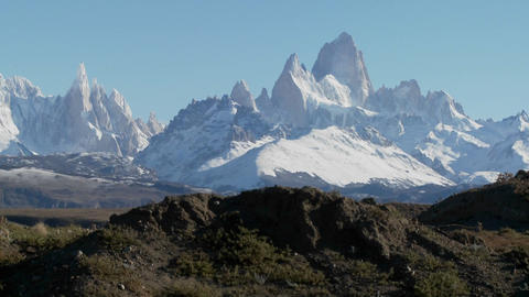 The remarkable mountain range of Fitzroy in Patagonia,... Stock Video Footage