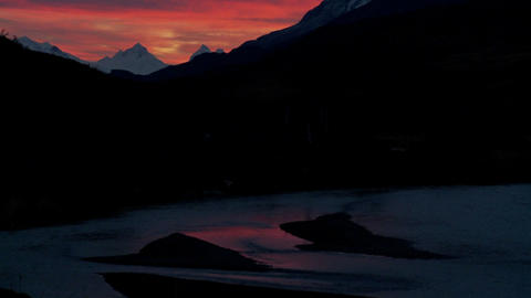 A beautiful deep sunset behind mountains in far Southern... Stock Video Footage